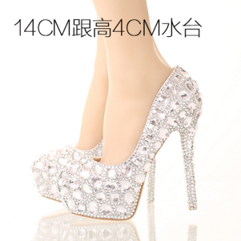 Diamond White wedding photo fine with female shoes crystal shoes (14cm with high 4cm water table)