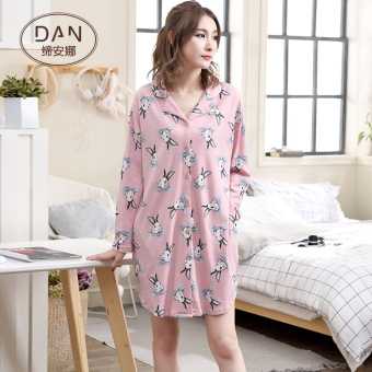 Dianna cute cotton pink tracksuit dress pajamas