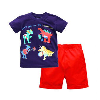 Dinosaur boy's short sleeved round neck Short sleeve red casual shorts T-shirt