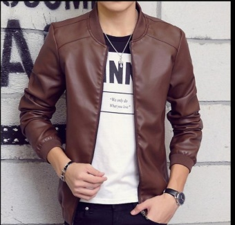 DM Mens Leather Jacket slim handsome men - intl