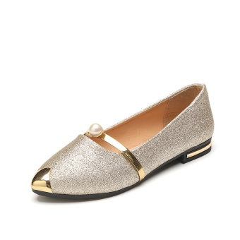 DM new single shoes for women's shoes pearl pointed flat shoes -intl