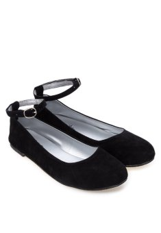 Doll Me Up Shoes Simply Suede Ebony Flats with Ankle Strap - 3
