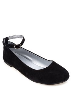Doll Me Up Shoes Simply Suede Ebony Flats with Ankle Strap