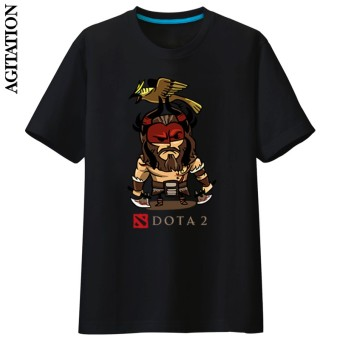 Dota2 cotton round neck game short sleeved Dota (Black Tiger)