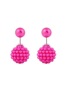 Double Pearl Round Multilayer Beads Stud Statement Earrings (Pink)