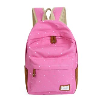 Double-Shoulder Girls Canvas Dots Schoolbag Students Backpacks Pink