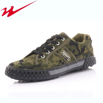 Double star casual for men and women non-slip wear and tooling shoes canvas shoes (Labor-1: camouflage)