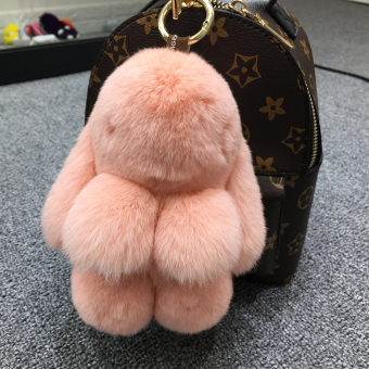 Dress dead rabbit fur velvet bunny school bag car key chain (Leather pink (Regular edition 18 cm))