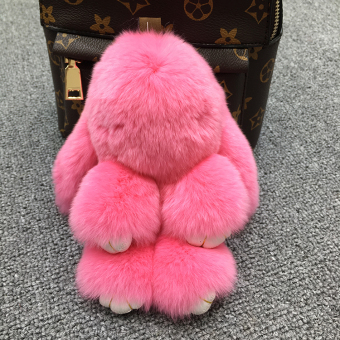 Dress dead rabbit fur velvet bunny school bag car key chain (Rose color)