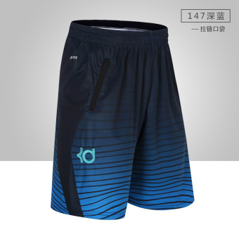 Durant summer basketball running hip hop shorts (KD 147 black blue striped shorts)