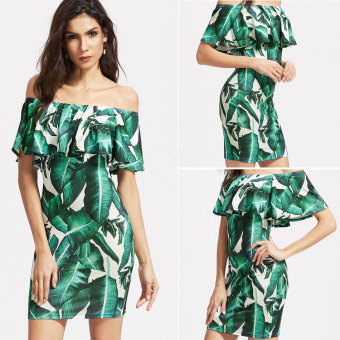 Ebay European and American green leaves printed flounced dress