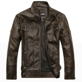 EGC European style Men's Motorcycle leather jacket(Brown) - intl Price Philippines