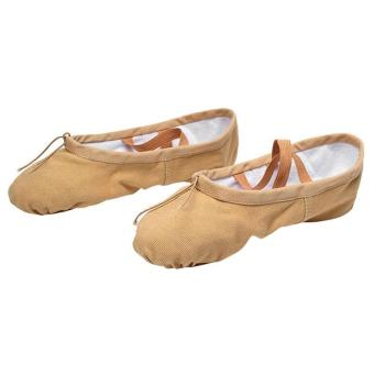 Elastic Canvas Ballet Slippers Yoga Dance Shoes for Kids (Khaki