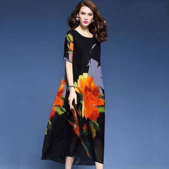 Elegant European and American Spring and Autumn New style printed elegant dress chiffon dress