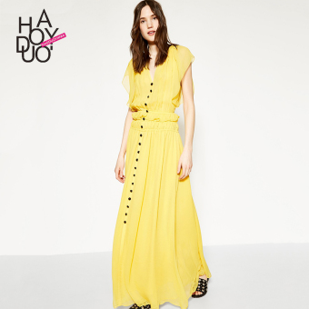 Elegant haoduoyi2017 fashion fold single breasted dress