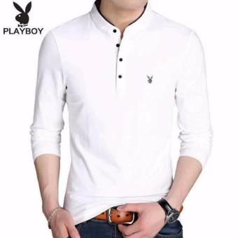 Elegant Mens Long Sleeve T-Shirt WHITE