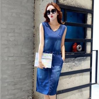 Elegant New Women Summer Vintage Frayed Leisure V-neck Denim Slim Midi Dress - intl - 3