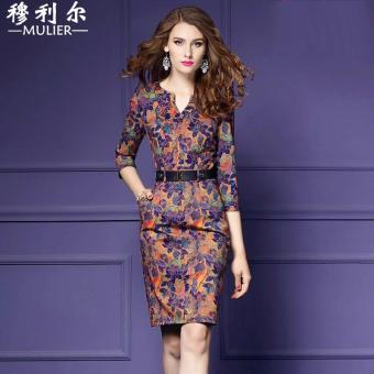 Elegant retro autumn New style three-quarter-length sleeve dress