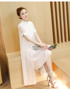Elegant retro style improved plate buttons Cheongsam (White)