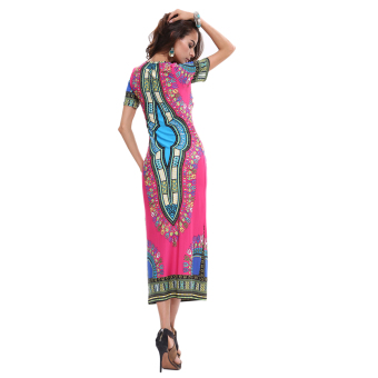 Elegant Thailand National Style Flora Print Casual Dresses Long Traveling Wild Party Dress - 3