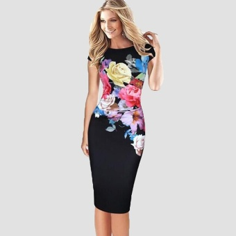 Elegant Women Midi Dress Floral Print Bodycon Short Sleeve Ruched Formal Work Party Pencil Dress Black - intl