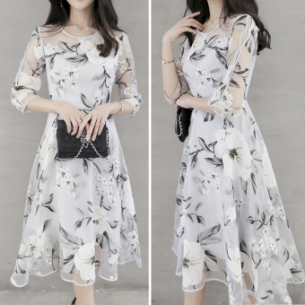 Elegant Women Organza Floral O-Neck Long Dress 3/4 Sleeve