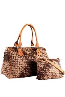 Elena 1253H Mat Design Shoulder Bag with Sling Bag (Coffee/Cream)