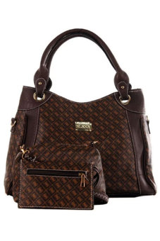 Elena 5010-2 Shoulder Bag with Sling Bag and Wallet (Coffee) Price Philippines