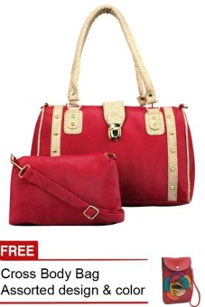 Elena 5047 Shoulder Bag with Sling Bag (Peach) with Free Cross Body Bag Assorted Design & Color Price Philippines