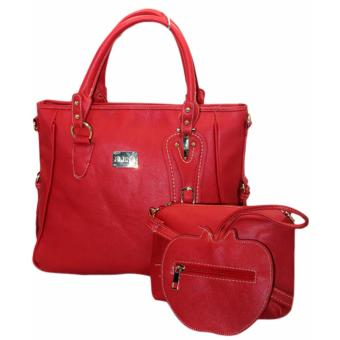 Elena E336Shoulder Bag With Sling And Wallet (Red)