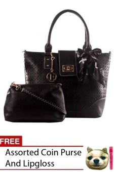 Elena X-11016 Shoulder Bag with Sling Bag (Black) with FREE Coin Purse Assorted Designed and LipGloss