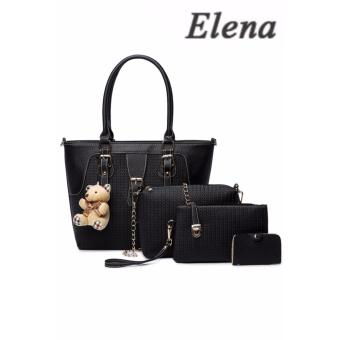 Elena X-518 5 in 1 Premium Bag Set (Black)With Mini Teddy