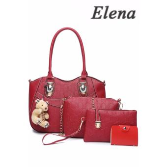Elena X-521 5 in 1 Premium Bag Set (Red)With Mini Teddy