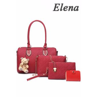 Elena X-522 5 in 1 Premium Bag Set (Red)With Mini Teddy