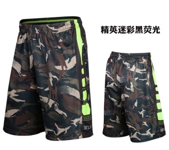 Elite fitness training running Plus-sized shorts basketball shorts (Elite dark green camouflage)