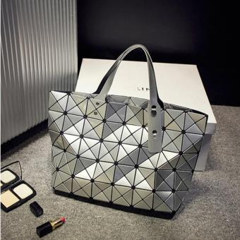 Elite Top Handle Bag / Folded Geometric Plaid Bag / Bao Bao DesignBag - Gray (L)