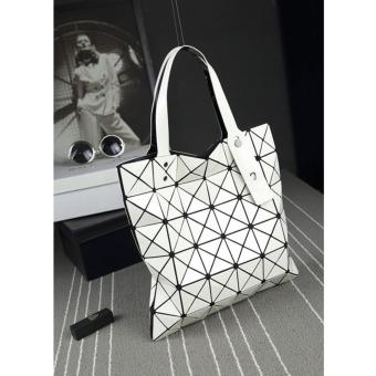 Elite Top Handle Bag/ Folded Geometric Plaid Bag/Tote Bag/ Bao BaoDesign Bag - White (M) Price Philippines