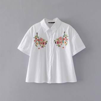 Embroidered New style Fold-down collar short sleeved flower female Top shirt