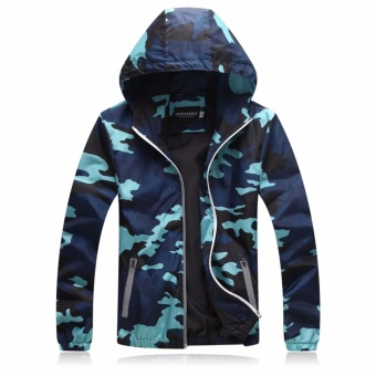 Encontrar Men Camouflage Hooded Jackets Winproof M-3XL (Grey) -intl - 3