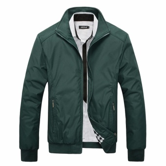 Encontrar New Men Solid Business Classic Bomber Jackets M-5XL (DeepGreen) - intl