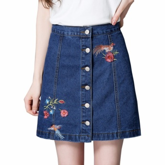 Encontrar Women Embroidery High Waist A-Line Denim Skirt S-3XL(Dark Blue) - intl