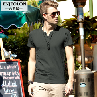 Enjeolon European and American solid color Short sleeve men base shirt T-shirt (Dark gray color)