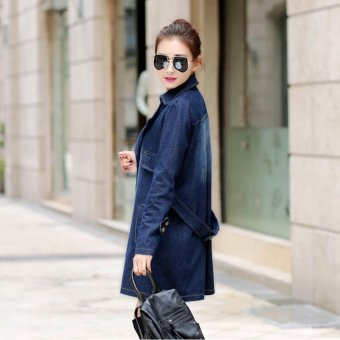 EOZY 2017 New Fashion Women's Denim Jacket Korean Style Spring Autumn Female Lapel Long-sleeved Double Breasted Slim Long Jacket Wind Coat Overcoat Outerwear (Blue) - intl - 2