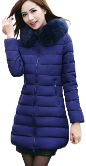 EOZY Fashion Ladies Women Parka Down Puffer Jackets Korean Style Female Thicken Feather Long Jackets Winter Coats Overcoats (Royal Blue)