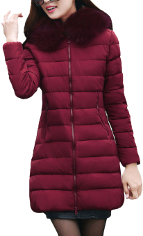 EOZY Fashion Ladies Women Parka Down Puffer Jackets Korean Style Female Thicken Feather Long Jackets Winter Coats Overcoats (Wine Red)