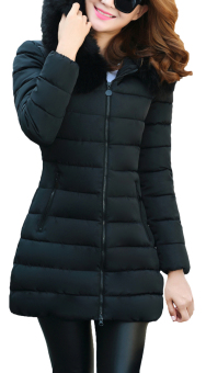 EOZY Fashion Ladies Women Parka Down Puffer Jackets Korean StyleFemale Thicken Feather Long Jackets Winter Coats Overcoats (Black)