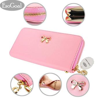EsoGoal 2017 Fashion Lady Women Clutch Leather Long Wallet Card Holder Purse Bow Handbag (Pink) - intl