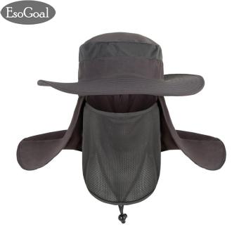 EsoGoal Summer Sun Hat Protection Caps Flap 360?Outdoor Fishing Hat With Removable Neck Face Flap Cover, UPF 50+ Cap For Men And Women(Dark Grey) - intl