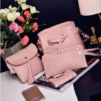 EsoGoal Women's PU Leather Handbag+Shoulder Bag+Purse+Card Holder 4pcs Set Tote Pink - intl - 3