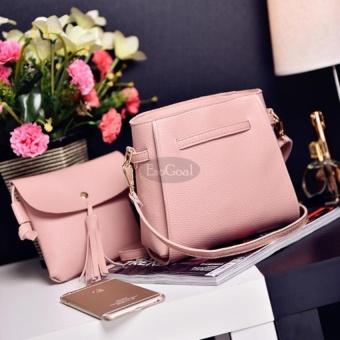 EsoGoal Women's PU Leather Handbag+Shoulder Bag+Purse+Card Holder 4pcs Set Tote Pink - intl - 4